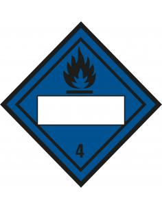 Beschrijfbare ADR klasse 4.3 sticker ontvlambaar met water, blauw zwart, vlam pictogram