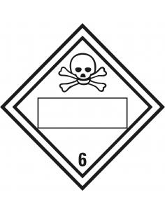 Beschrijfbare ADR klasse 6.1 sticker giftig, ruit, wit zwart, doodshoofd pictogram