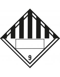 Beschrijfbare ADR klasse 9 sticker diverse gevaarlijke stoffen, wit zwart, vierkant, om zelf te beschrijven
