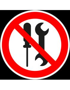 Onderhoud door gebruikers verboden sticker, ISO 7010, P069, rood wit, rond, schroevendraaier en steeksleutel symbool