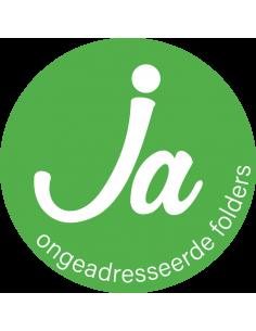 Ja sticker brievenbus, groen wit, rond, nieuwe sticker