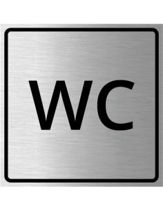 WC bordje, geborsteld aluminium, wit, vierkant, tekst WC