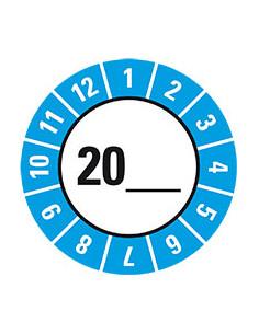 Keuringssticker voor basisetiket, jaartal zelf in te vullen, Ø 25 mm, 21/vel