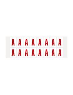 Letter, wit/rood, folie, teksthoogte 25 mm, 22x36 mm, 20 kaarten/verpakking