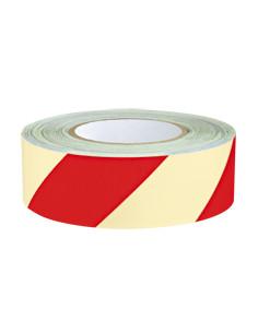 PERMALIGHT power Waarschuwingsmarkeringsband,rechts,wit naschijnend/rood, 16m/rol