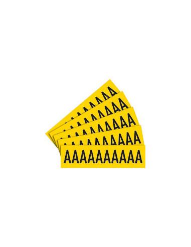 Sticker letters geel/zwart teksthoogte: 40 mm