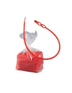 Sluiting, voor afsluiting van zakken, universeel, rood ,polyethyleen