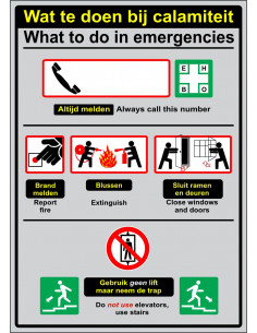 Informatiebordje Wat te doen bij calamiteit / What to do in emergencies