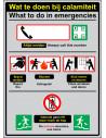 Informatiebordje Wat te doen bij calamiteit / What to do in emergencies