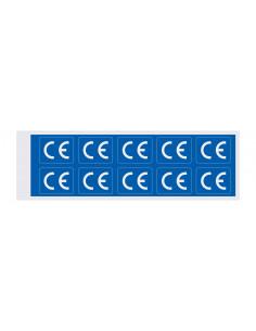 Stickers CE-teken, rechthoekig, wit of blauw, op kaart