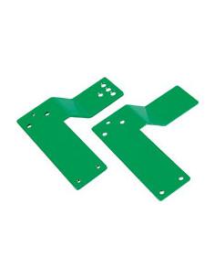 Montageplaat, voor Panikstangen, voor glazen deur, DIN links, groen, 170 x 175x3 mm