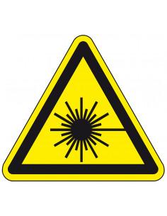 Waarschuwingssticker laserstraal, W004, geel zwart, ISO 7010, pictogram laser, driehoek