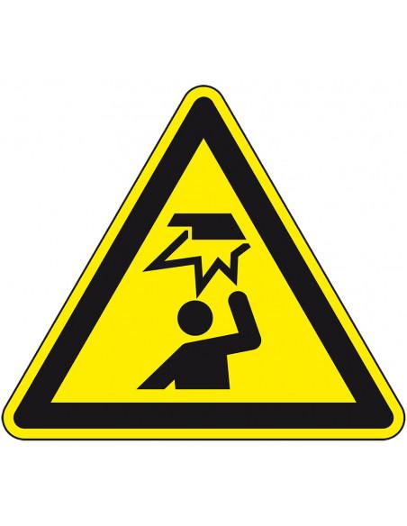 Waarschuwingssticker stootgevaar, W020, geel zwart, ISO 7010, hoofd stoten, driehoek