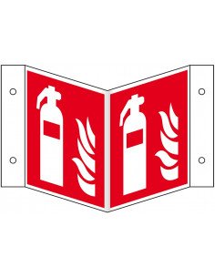 Panorama brandblusser bord, kunststof, F001, rood wit, pictogram brandblusser, vierkant