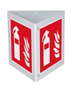 Brandblusser bordenset, kunststof, 250 x 250 mm, F001, rood wit, pictogram brandblusser, vierkant