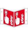 Panorama bord brandmelder, kunststof, ISO 7010, F005