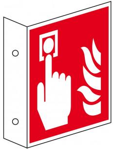 Haaks bord brandmelder pictogram
