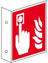 Haaks bord brandmelder, 200 x 200 mm, kunststof, ISO 7010, F005