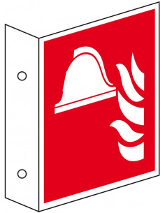 Haaks bord materiaalopslag brandbestrijding pictogram, ISO 7010
