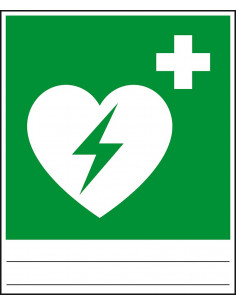 Evacuatiepictogram Defibrillator, ISO 7010, dubbelzijdig, folie