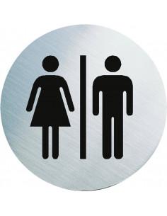 WC bordje dames/heren toiletten, roestvrij staal, 60 mm, rond wc bordje