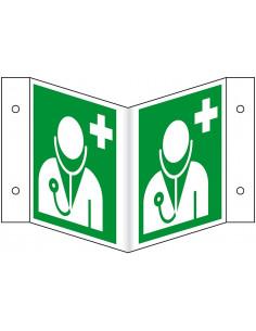 Evacuatiepictogram Dokter / Arts, wigbord, ISO 7010, 200 x 200 mm