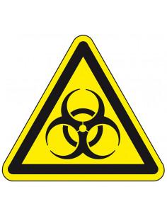 Biologisch gevaar bord, W009, geel zwart, ISO 7010, biologisch gevaar symbool, driehoek
