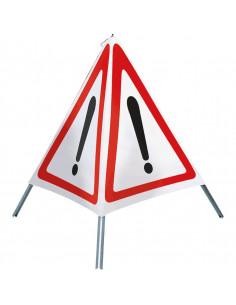 Opvouwbare signaleringbord, driepoot, wit/rood, ook overdag oplichtend