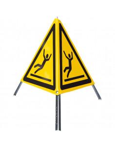 Opvouwbare signalering waarschuwing voor glad oppervlak / uitglijden, driepoot, geel/zwart, SL 600 mm
