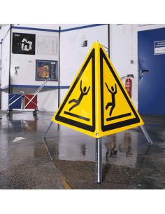 Inklapbaar waarschuwingsbord natte vloer, 600 mm, W011, geel zwart, ISO 7010, uitglijden, driehoek