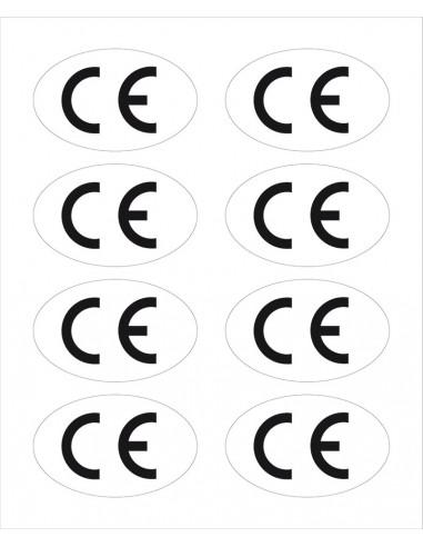CE-teken, ovaal, wit/zwart, zelfklevende folie (sticker)