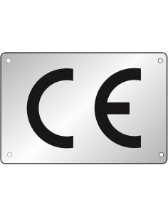 CE-label, rechthoekig, geanodiseerd aluminium, 100/VE