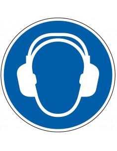 pictogram gehoorbescherming verplicht, blauw wit, rond, ISO 7010, M003