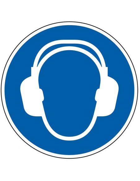 Sticker gehoorbescherming verplicht, ISO 7010, M003, blauw wit, pictogram gehoorbescherming, rond