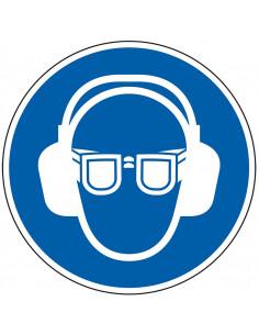 Gebodssticker 'Oog- en gehoorbescherming verplicht', ISO 7010