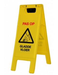 Inklapbaar A-bord, pas op gladde vloer, geel zwart
