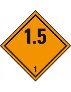 ADR klasse 1.5 sticker explosieve stoffen, zeewaterbestendig, ruit, oranje zwart, cijfer 1.5