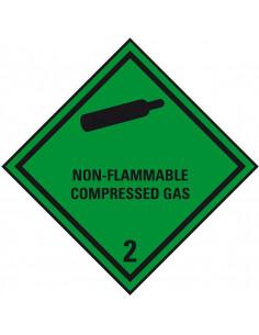 Sticker 'Kl. 2. 2, Non-Flammable. . . , verpakkingsetiket