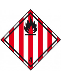 Sticker 'Kl. 4. 1 Brandbare vaste stoffen', 500/rol