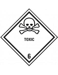 ADR klasse 6.1 sticker giftig met tekst, zeewaterbestendig, ruit, wit zwart, doodshoofd pictogram