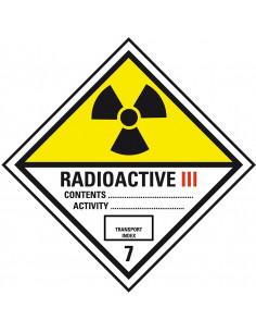 Sticker 'Kl. 7C categorie III Radioactieve stoffen', verpakkingsetiket