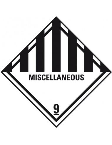 ADR klasse 9 sticker diverse gevaarlijke stoffen met tekst, wit zwart, met tekst miscellaneous