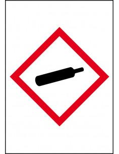GHS04 gassen onder druk leidingmarkering op rol, rechthoek, wit vlak rode ruit met pictogram