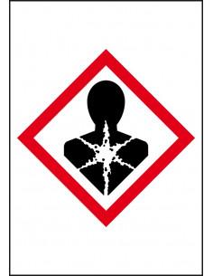 GHS08 gezondheidsgevaar leidingmarkering op rol, rechthoek, wit vlak rode ruit met pictogram