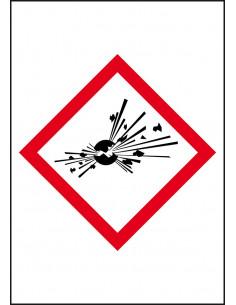 GHS sticker 01 'ontplofbare stoffen' voor leidingmarkeringen