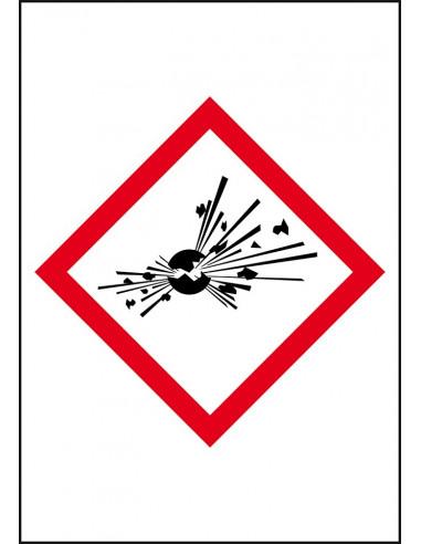 GHS01 explosieve stoffen sticker leidingmarkering op rol, rechthoek, wit vlak rode ruit met pictogram