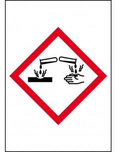 GHS05 bijtende stoffen leidingmarkering op rol, rechthoek, wit vlak rode ruit met pictogram