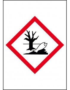 GHS09 milieugevaarlijke stoffen leidingmarkering op rol, rechthoek, wit vlak rode ruit met pictogram