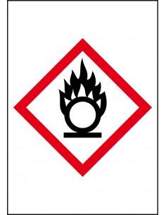 GHS03 oxiderende stoffen leidingmarkering op rol, rechthoek, wit vlak rode ruit met pictogram