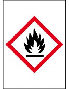 GHS02 ontvlambare stoffen  leidingmarkering op rol, rechthoek, wit vlak rode ruit met pictogram